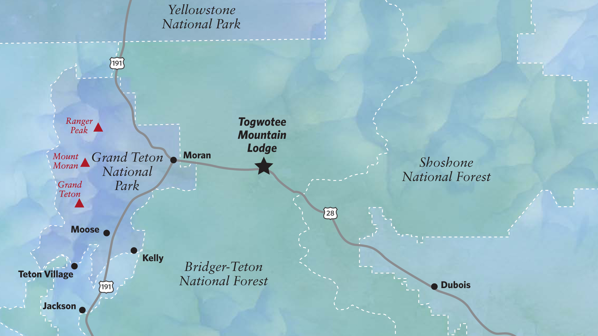 Moran Wyoming Map Area Maps for Jackson Hole & Togwotee Pass Area | Togwotee